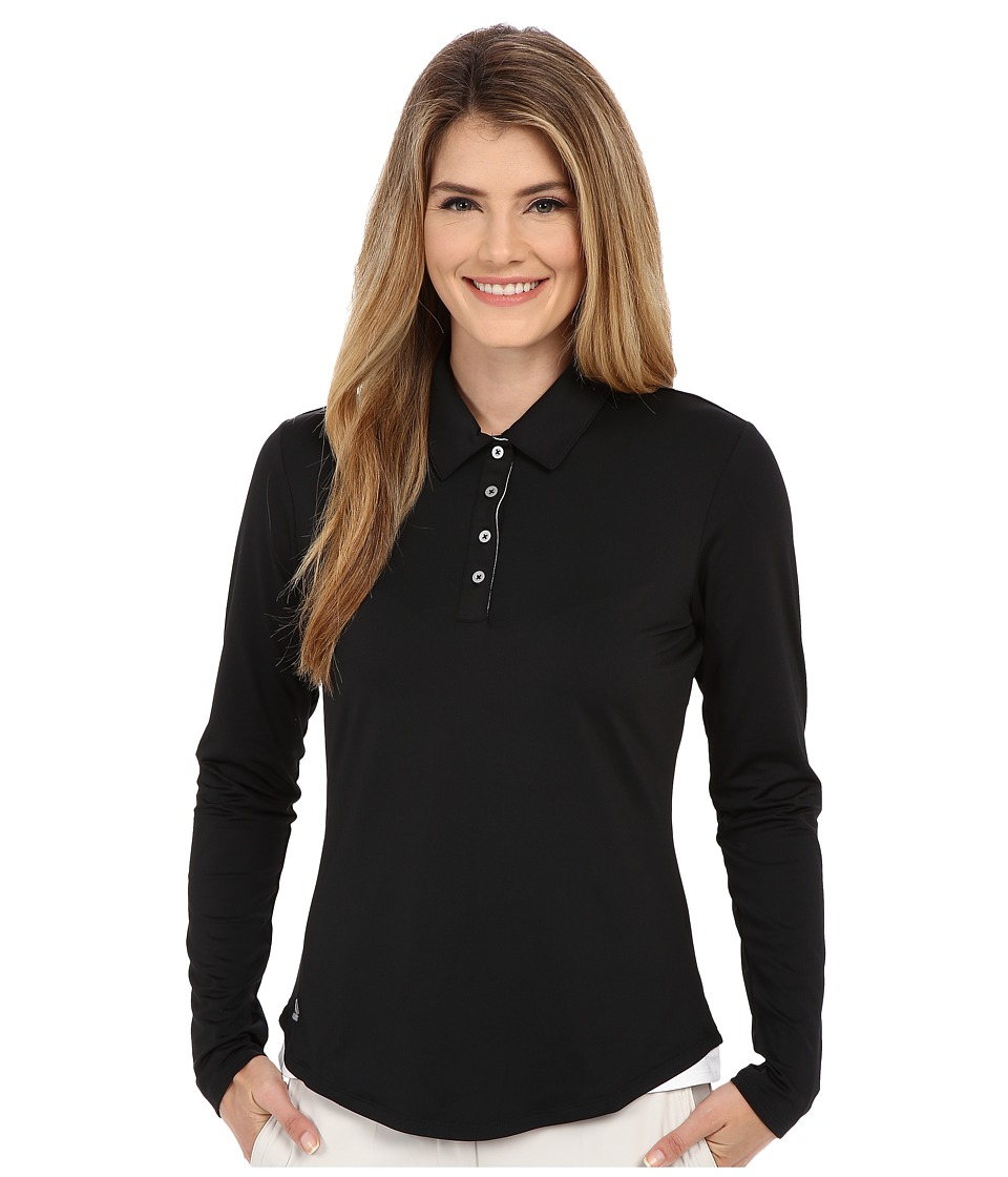 adidas Golf - Essentials 3-Stripe Long Sleeve Polo (Black/White) Women's Long Sleeve Pullover