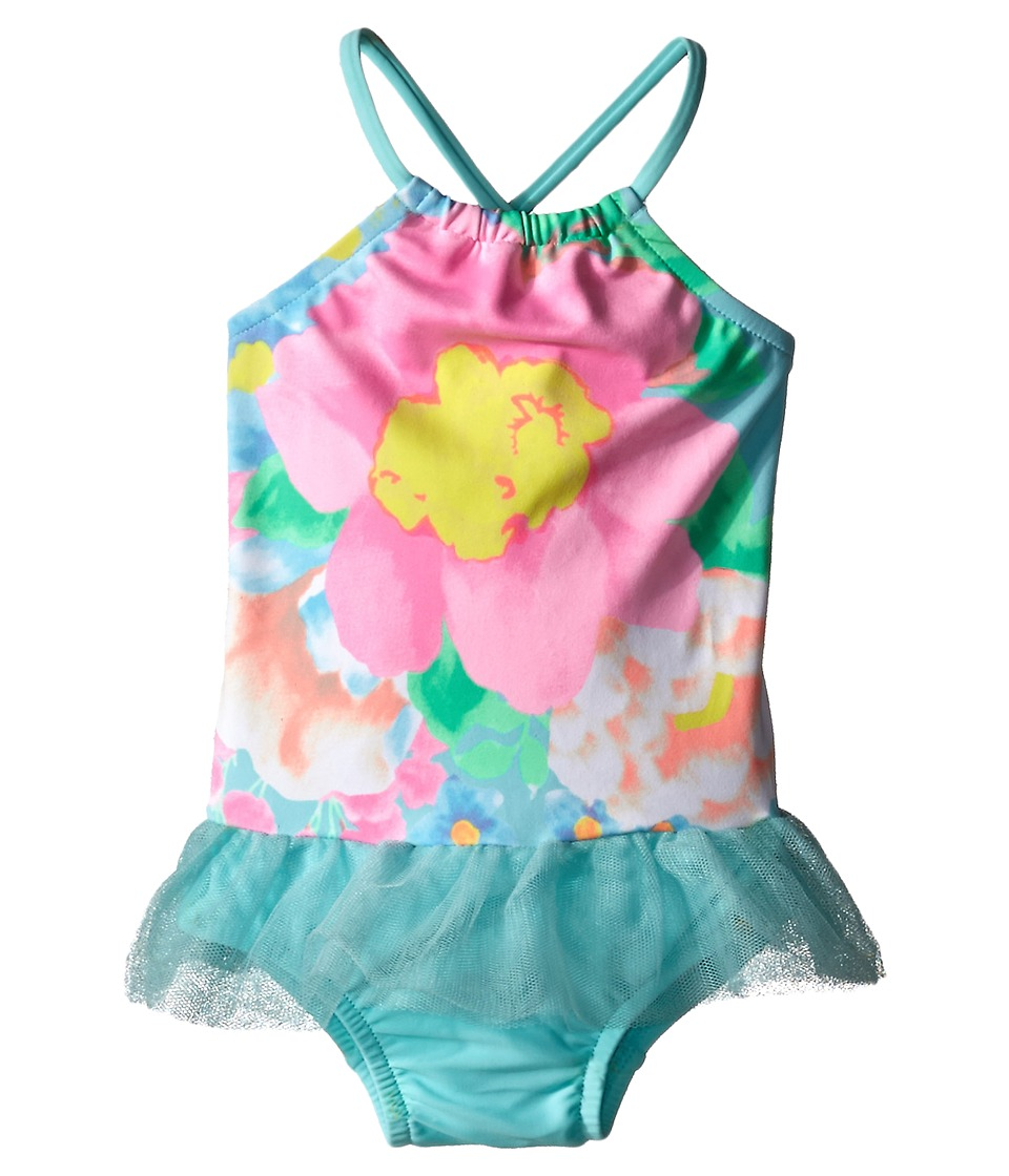 Seafolly Kids - Spring Bloom Apron Tank Top One Piece (Infant/Toddler/Little Kids) (Crystal Blue) Girl's Swimsuits One Piece