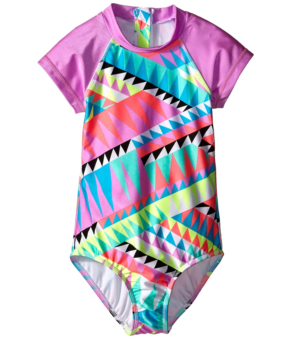 Seafolly Kids - Pool Party Short Sleeve Surf Tank One-Piece (Little Kids/Big Kids) (Multi) Girl's Swimsuits One Piece
