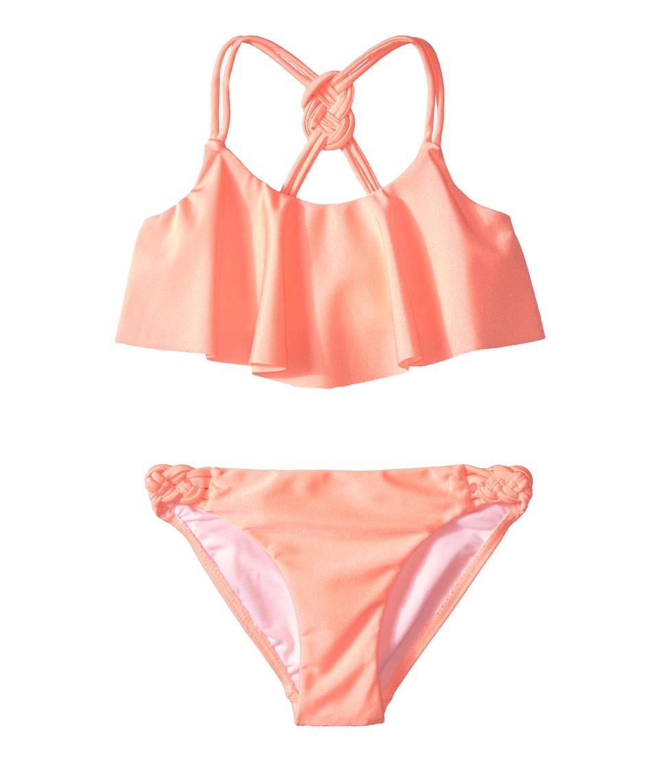 Seafolly Kids - Pool Party Frill Tankini (Little Kids/Big Kids) (FluroMelon) Girl's Swimwear Sets