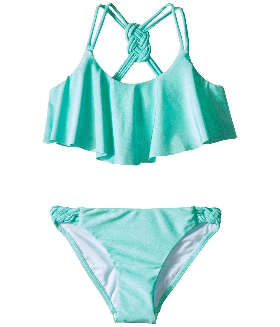 Seafolly Kids - Pool Party Frill Tankini (Little Kids/Big Kids) (Peppermint) Girl's Swimwear Sets