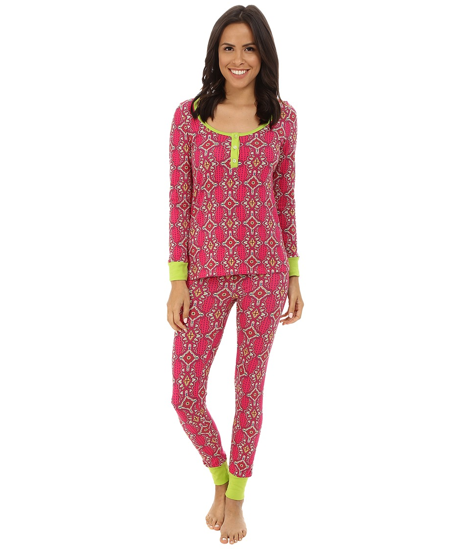 BedHead - Henley Stretch PJ Set (Magenta Royal Foulard) Women's Pajama Sets