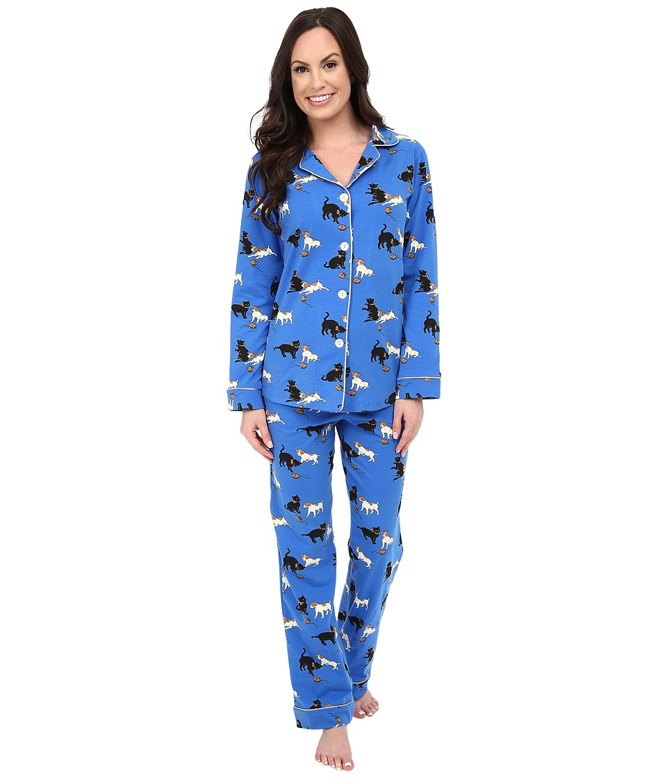 BedHead - Classic Cats and Dogs PJ Set (Blue Cats and Dogs) Women's Pajama Sets