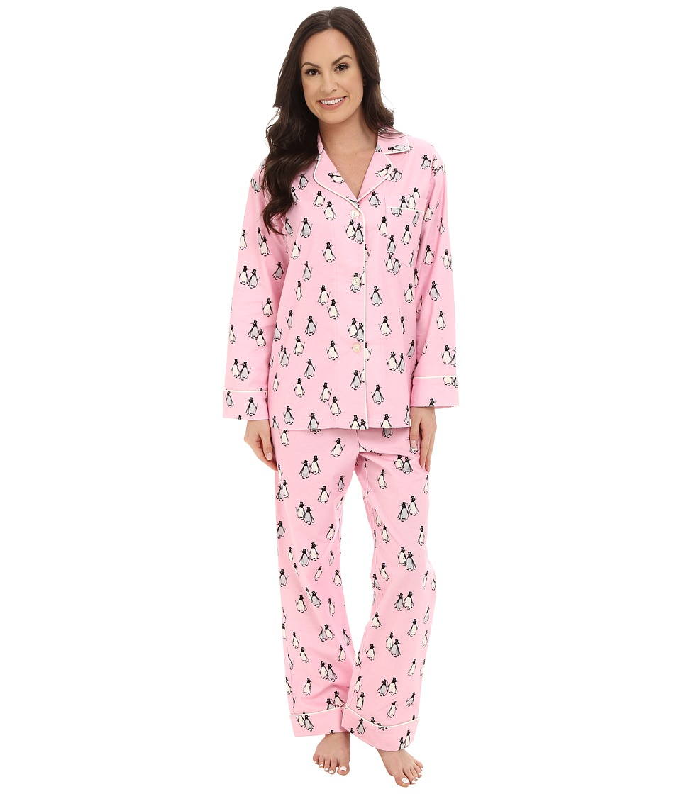BedHead - Long Sleeve Classic Flannel Pink Penguins On Parade PJ Set (Pink Penguins On Parade) Women's Pajama Sets