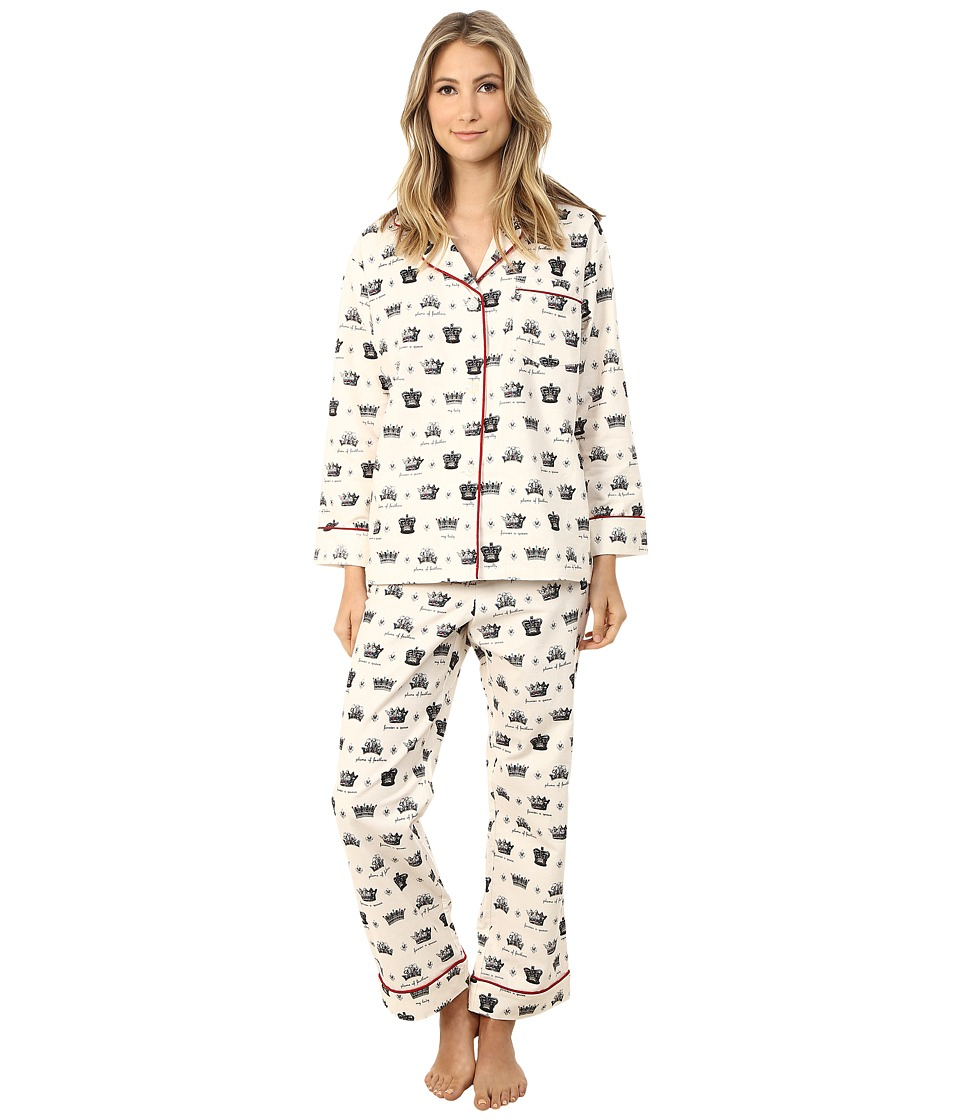 BedHead - Long Sleeve Classic Flannel PJ Set (Crowns/Forever A Queen) Women's Pajama Sets