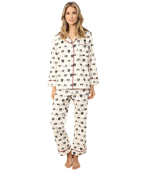BedHead - Long Sleeve Classic Flannel PJ Set (Crowns/Forever A Queen) Women