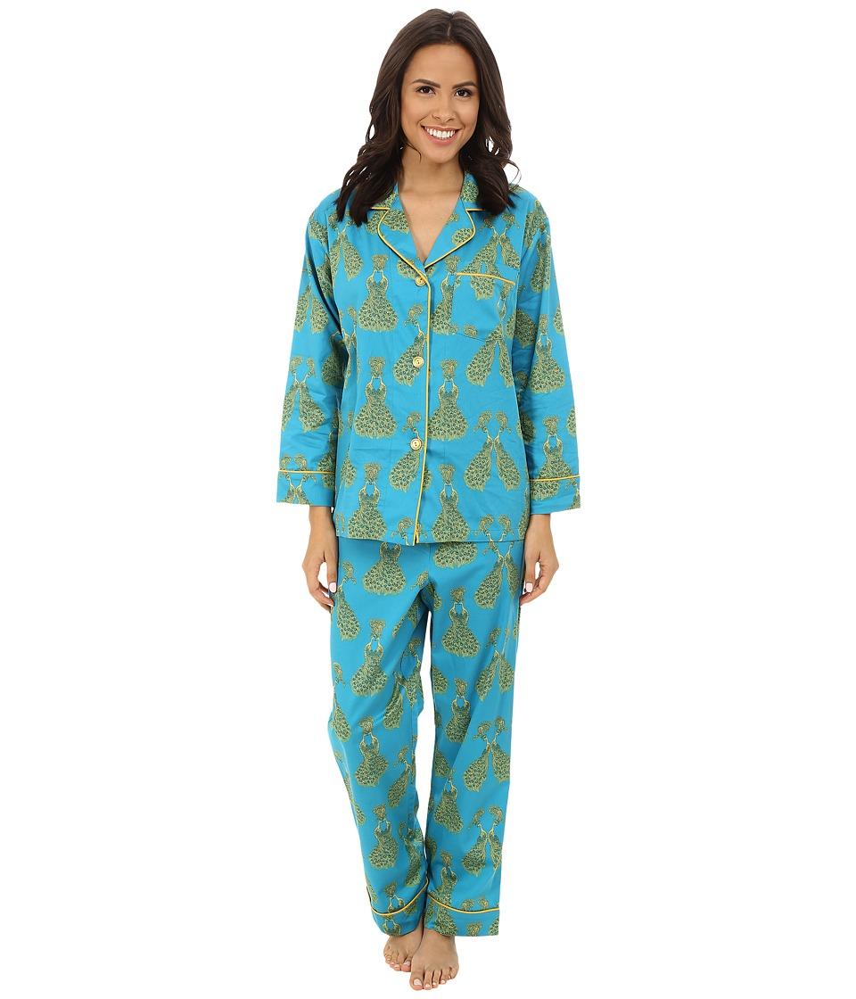 BedHead - Classic Cotton Sateen PJ Set (Royal Peacocks) Women's Pajama Sets