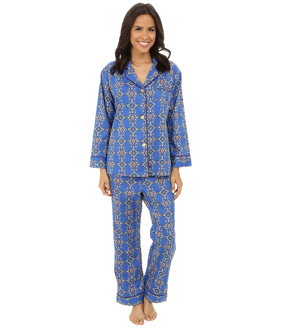 BedHead - Classic Cotton Sateen PJ Set (Navy Royal Foulard) Women's Pajama Sets