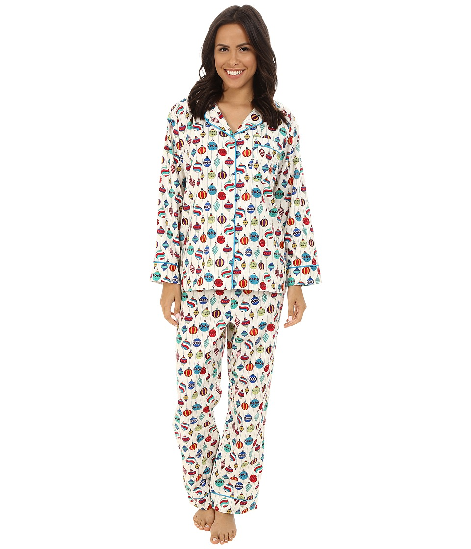 BedHead - Long Sleeve Classic Flannel PJ Set (Hanging Ornaments) Women's Pajama Sets