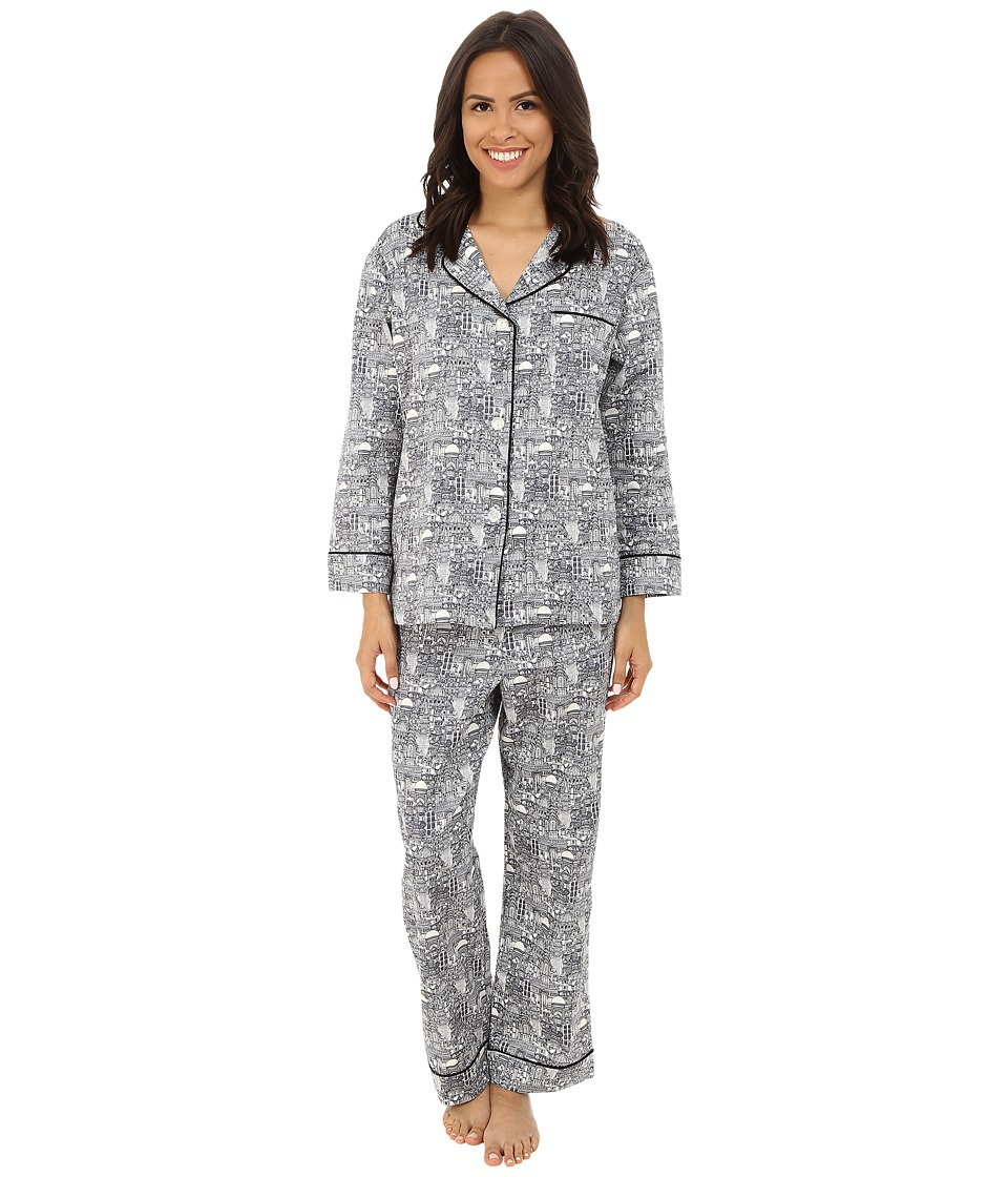 BedHead - Classic Cotton Sateen PJ Set (B&W Wonders of the World) Women