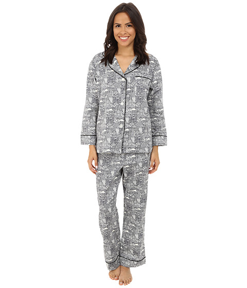 BedHead - Classic Cotton Sateen PJ Set (B&W Wonders of the World) Women's Pajama Sets
