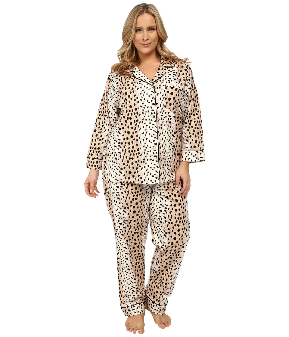 BedHead - Plus Size Classic Flannel PJ Set (Royal Animal) Women's Pajama Sets