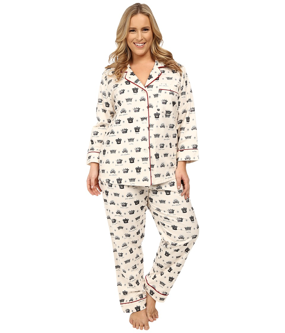 BedHead - Plus Size Classic Flannel PJ Set (Crowns/Forever A Queen) Women's Pajama Sets