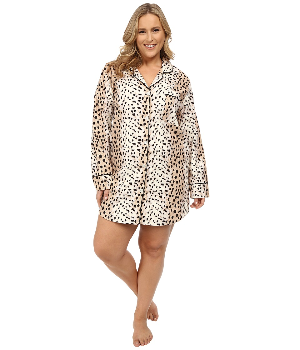 BedHead - Plus Size Flannel Nightshirt (Royal Animal) Women's Pajama