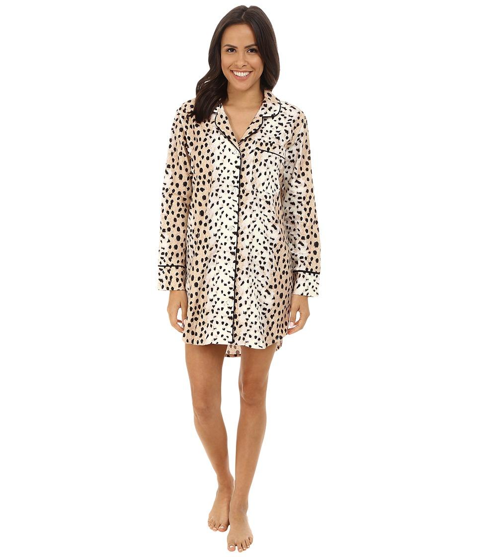 BedHead - Long Sleeve Flannel Nightshirt (Royal Animal) Women's Pajama