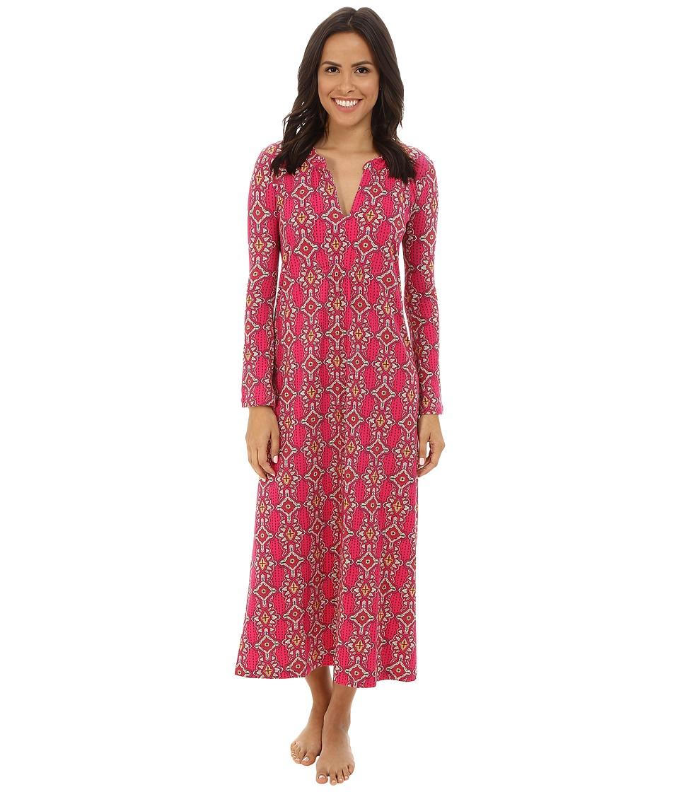 BedHead - Long Sleeve Long Stretch Cotton Gown (Magenta Royal Foulard) Women's Pajama