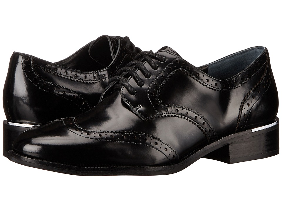 Marc Fisher LTD - Katie (Black Polished Calf) Women's Lace Up Wing Tip Shoes