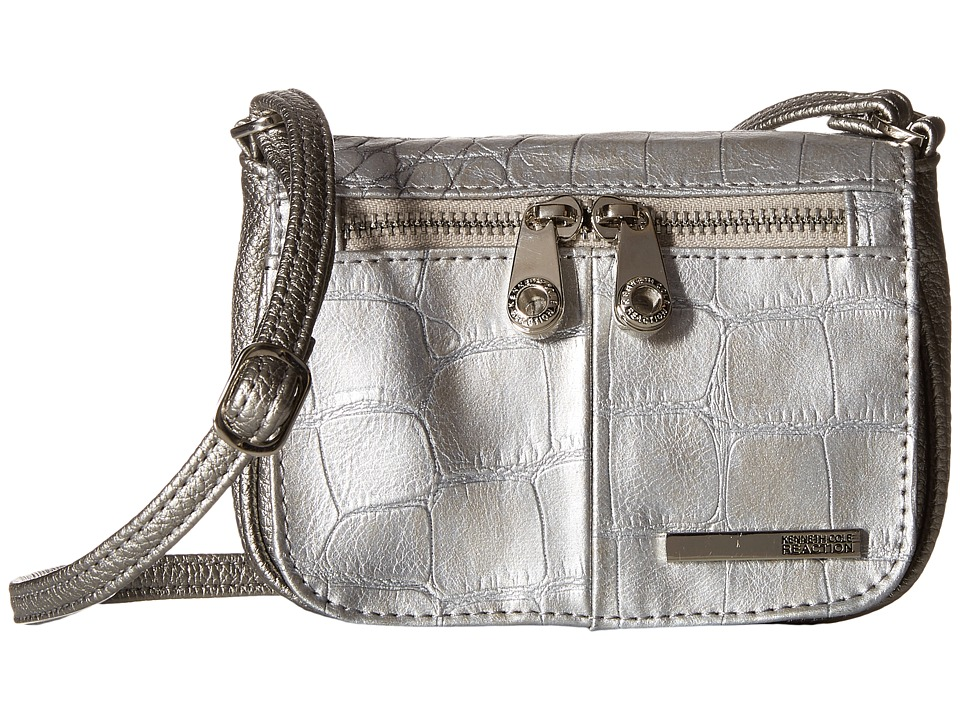 Kenneth Cole Reaction - Wooster Street Small Flap Crossbody (Pearlized Silver) Cross Body Handbags
