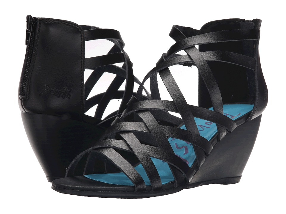 Blowfish - Blip (Black Dyecut PU) Women's Wedge Shoes