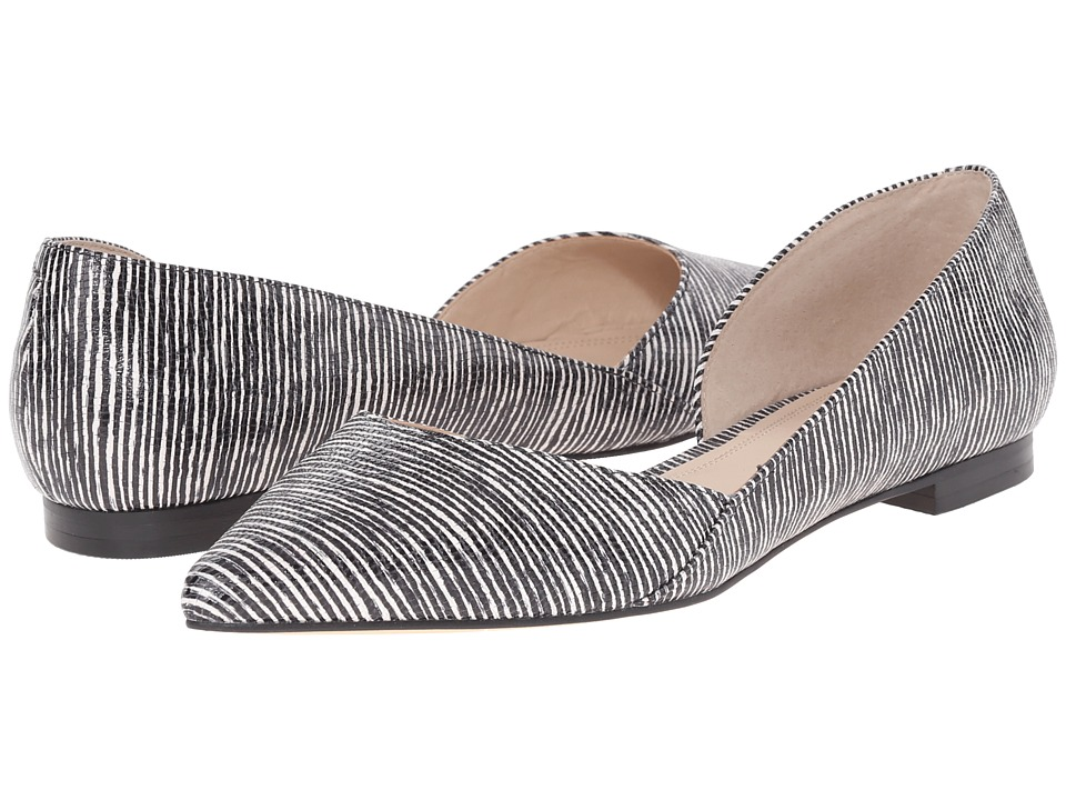 Marc Fisher LTD - Sunny 4 (White Stripe Lizard Leather/Black) Women's Dress Flat Shoes