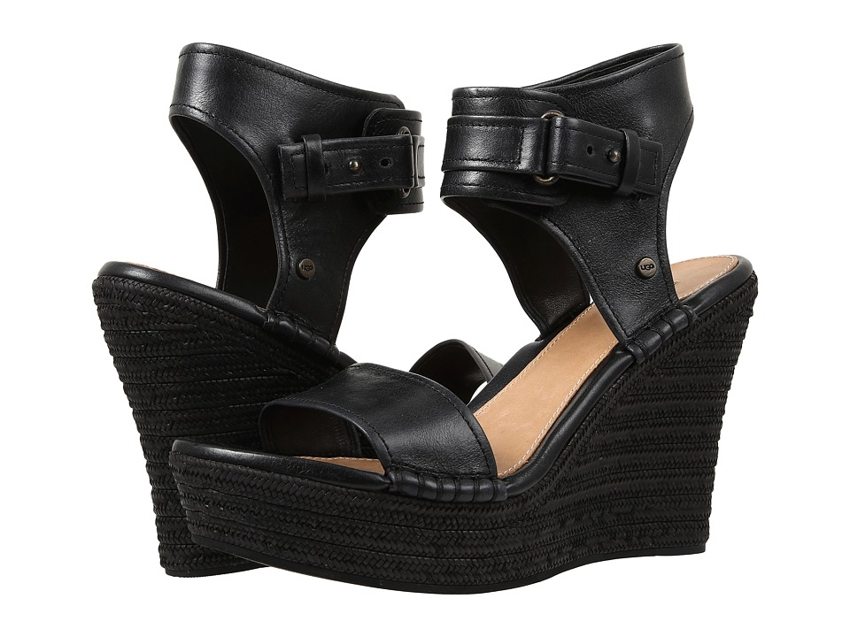 UGG - Maryanne (Black Leather) Women's Wedge Shoes