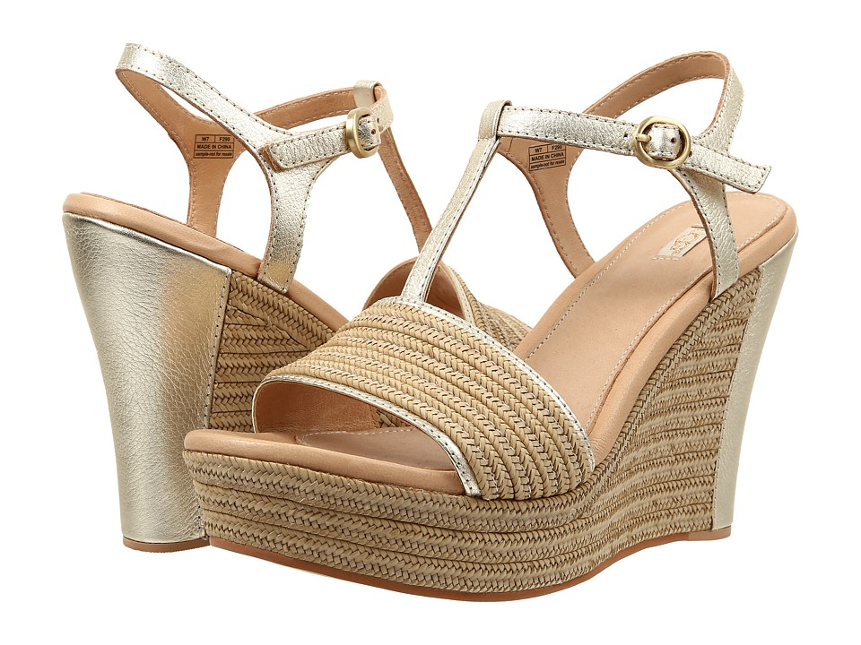 UGG Fitchie Metallic Soft Gold Leather Wedge Shoes