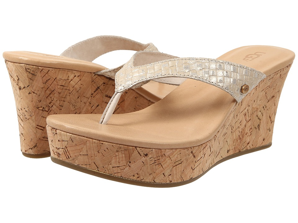 UGG - Natassia Metallic Basket (Soft Gold Leather) Women's Wedge Shoes