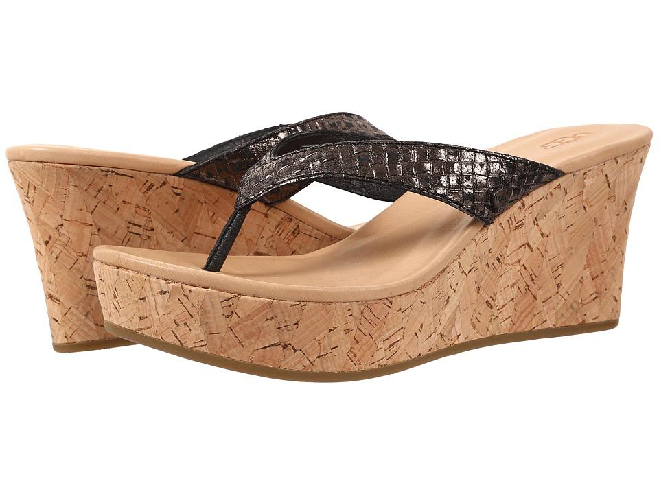 UGG - Natassia Metallic Basket (Black Leather) Women's Wedge Shoes