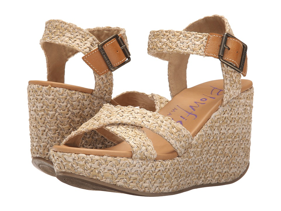 Blowfish - Dellis (Natural Beach Bag Straw/Desert Sand Pisa PU) Women's Wedge Shoes