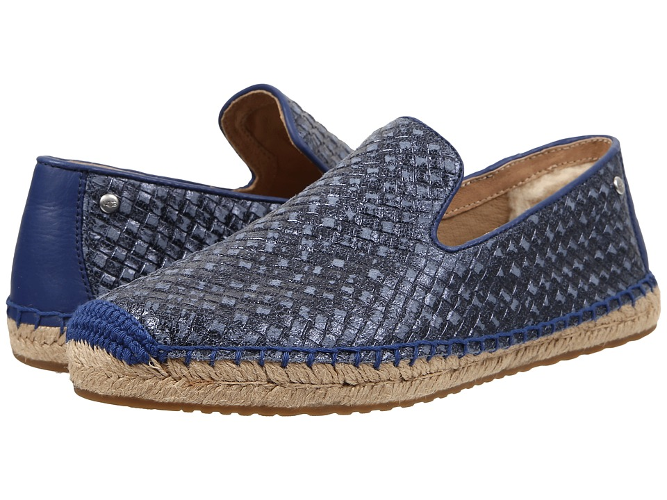 UGG - Sandrinne Metallic Basket (Racing Stripe Blue Leather) Women's Slip on Shoes