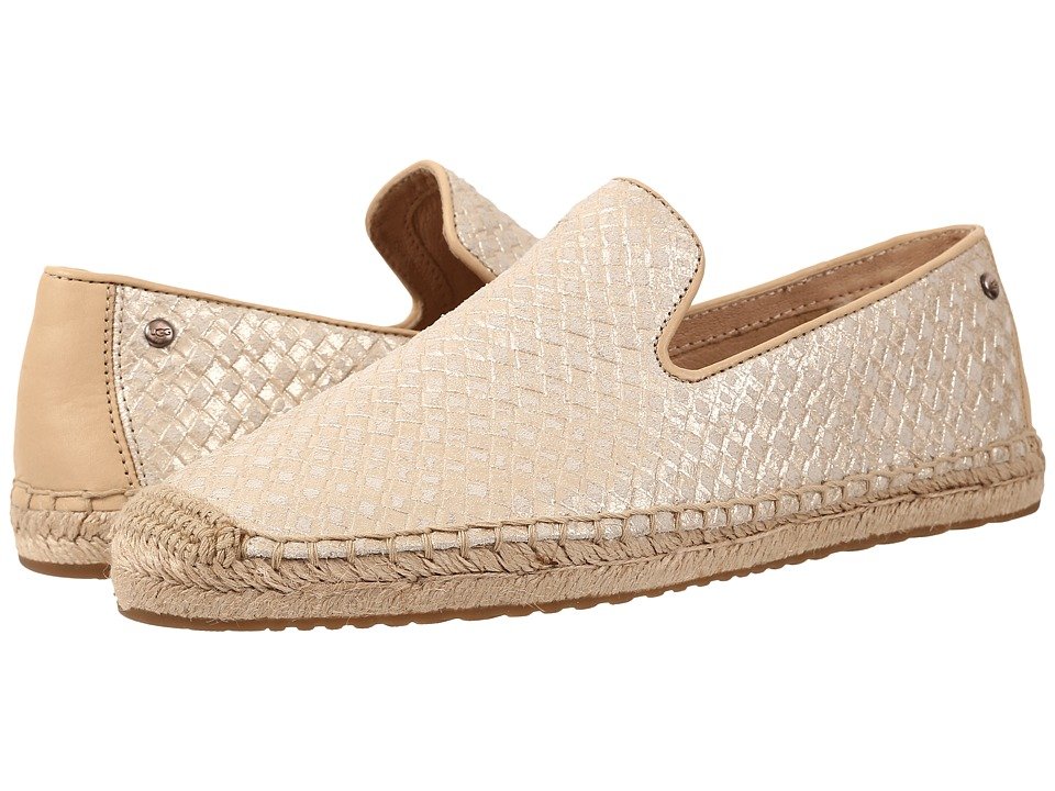UGG - Sandrinne Metallic Basket (Soft Gold Leather) Women's Slip on Shoes