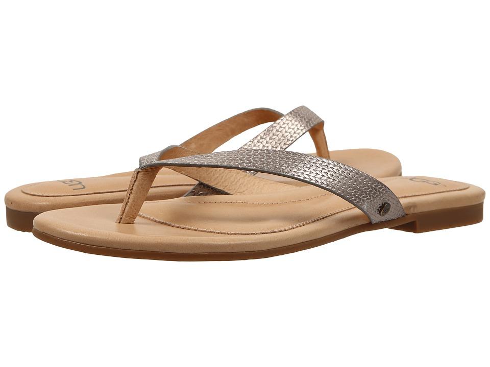 UGG - Allaria II Metallic Braid (Soft Gold Leather) Women's Slide Shoes