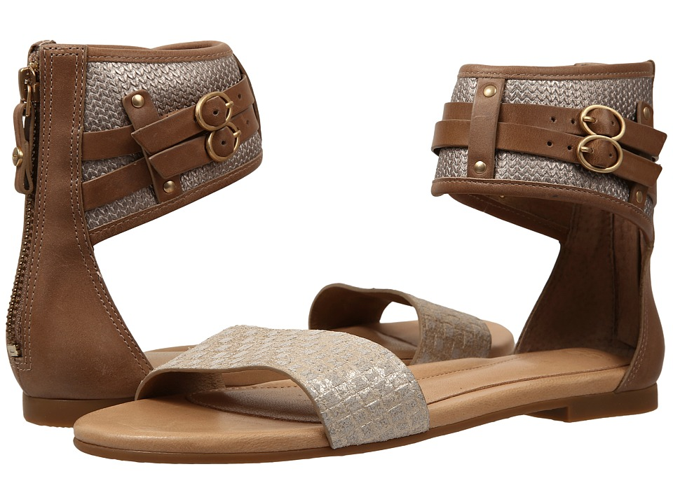 UGG - Savana Metallic Basket (Soft Gold Leather) Women's Sandals