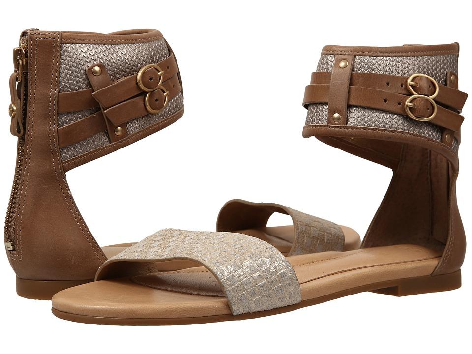 UGG - Savana Metallic Basket (Soft Gold Leather) Women's Sandals