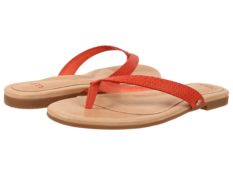 UGG - Allaria II Exotic (Hazard Orange Leather) Women's Slide Shoes