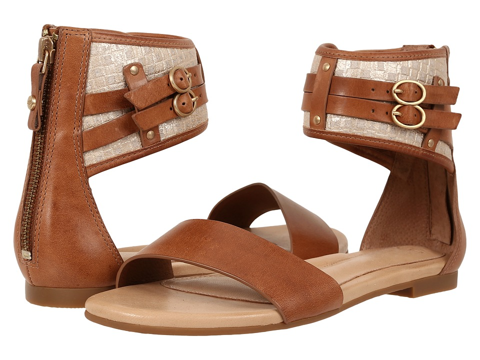 UGG - Savana Metallic Basket (Chestnut Leather) Women's Sandals