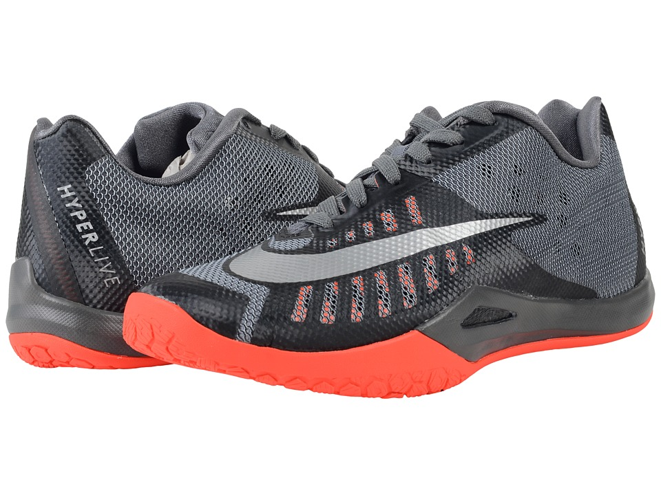 Nike - Hyperlive (Black/Dark Grey/Bright Crimson/Metallic SIlver) Men's Basketball Shoes