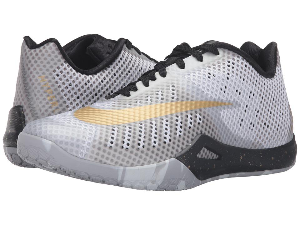 Nike - Hyperlive (White/Black/Wolf Grey/Metallic Gold) Men's Basketball Shoes