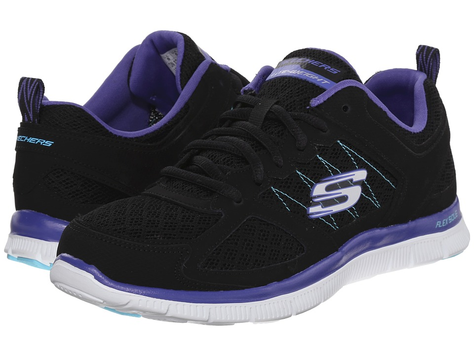 SKECHERS - Flex Appeal-Stiches (Black/Purple) Women's Shoes