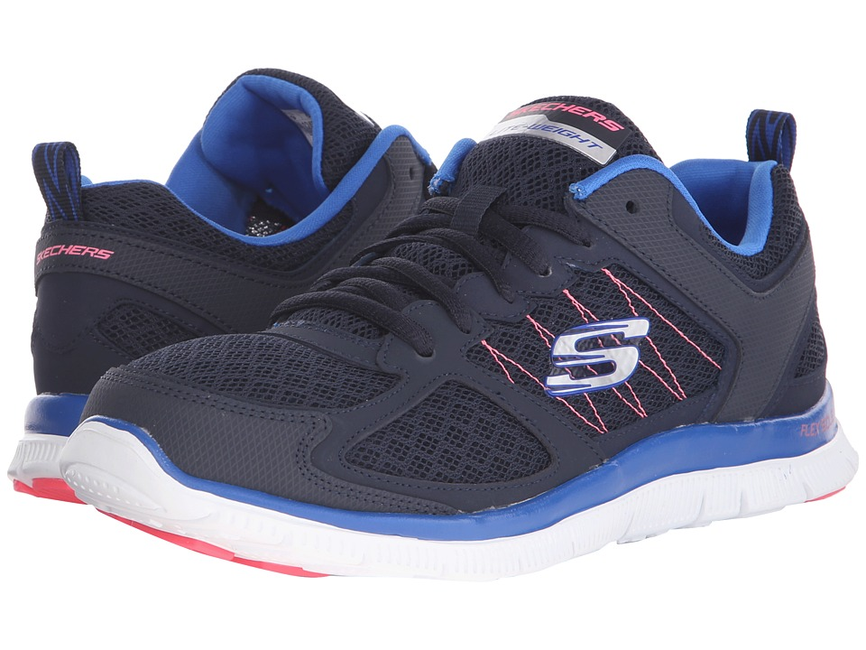 SKECHERS - Flex Appeal-Stiches (Navy/Pink) Women's Shoes