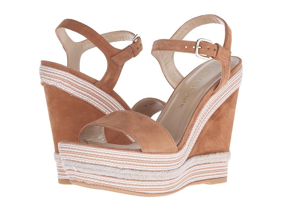Stuart Weitzman Single Toffee Suede Womens Dress Sandals