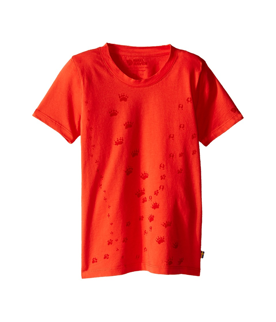 Fjallraven Kids - Kids Animal Tracks T-Shirt (Flame Orange) Kid's Short Sleeve Pullover