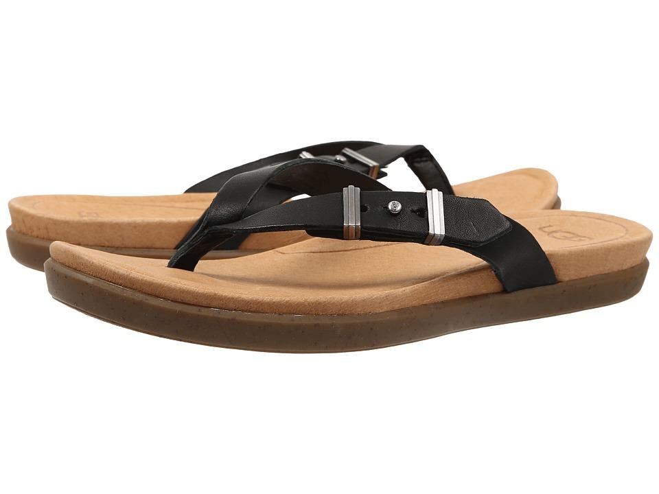 UGG - Sela (Black Leather) Women's Slide Shoes