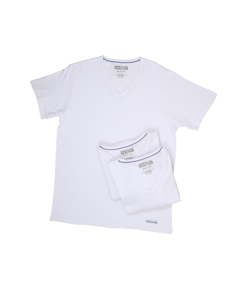 Kenneth Cole Reaction - 3-Pack V-Neck Tee (White) Men's T Shirt