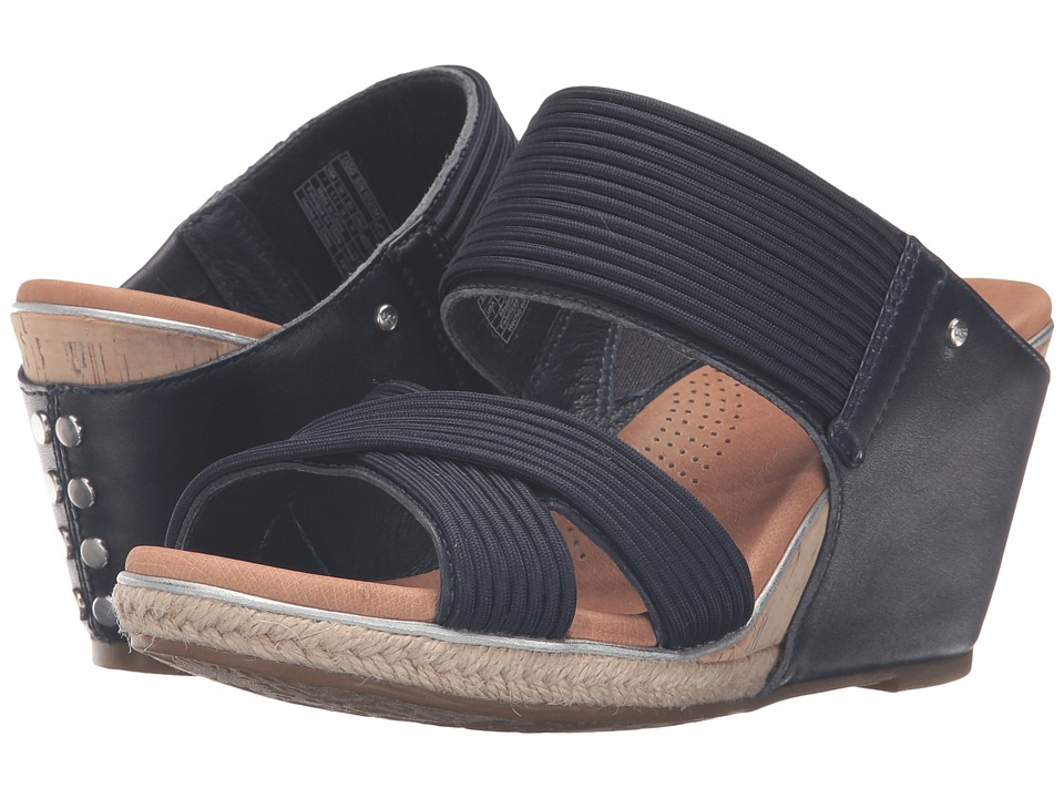 UGG Hilarie Racing Stripe Blue Leather Wedge Shoes