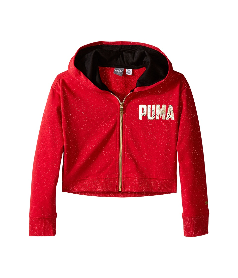 Puma Kids - Shimmer Fleece Hoodie (Big Kids) (Play Red) Girl's Sweatshirt