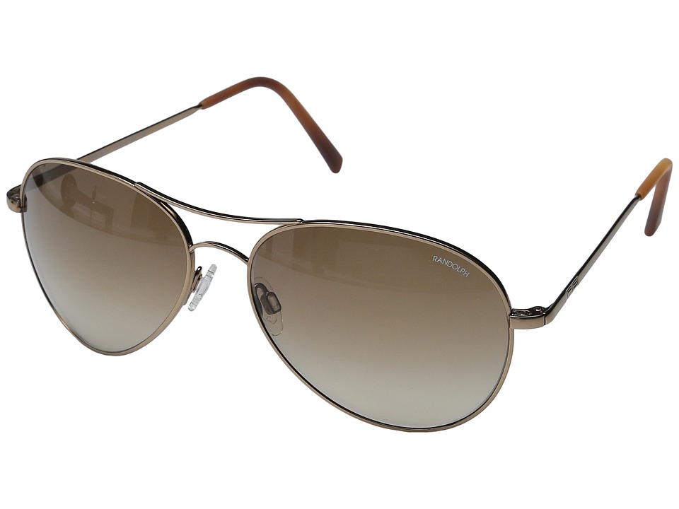 Randolph - Amelia 61mm (Chocolate Gold/Tan Gradient Nylon Lens) Fashion Sunglasses