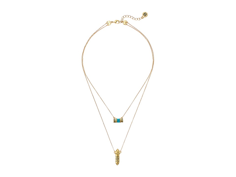 House of Harlow 1960 - Prana Double Pendant Necklace (Turquoise) Necklace