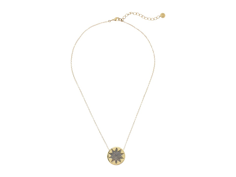 House of Harlow 1960 - Engraved Mini Sunburst Necklace (Gold/Silver) Necklace