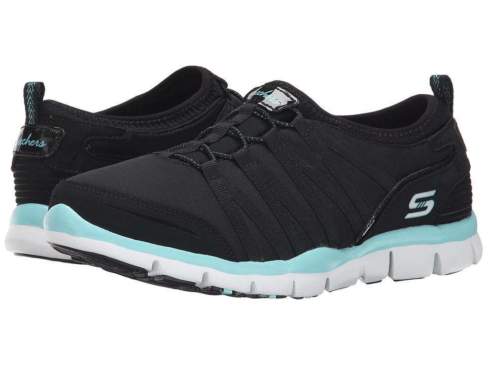 SKECHERS - Gratis - Shake-It-Off (Black/Aqua) Women's Lace up casual Shoes